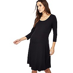 Red Herring Maternity - Black scoop neck knee length maternity skater dress