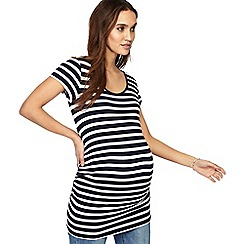 Red Herring Maternity - Navy stripe print scoop neck maternity top