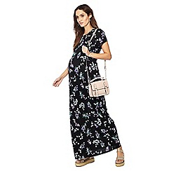 Red Herring Maternity - Black floral print cap sleeve full length maternity dress