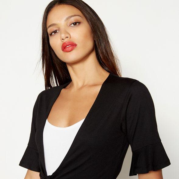 Red short sleeve front Herring neck cotton top nbsp;V blend Black tie OWrOzq8w1f