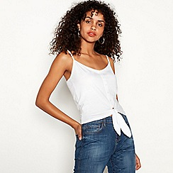 Red Herring - White tie front cotton camisole top