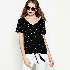 Red Herring - Black heart print cotton and modal blend V-neck t-shirt