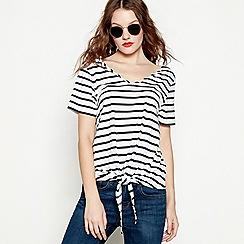 Red Herring - White stripe print cotton and modal blend V-neck t-shirt