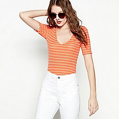 Red Herring - Orange stripe ribbed V-neck short sleeve top