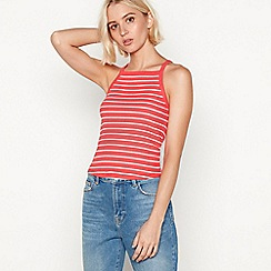 Red Herring - Red stripe print cotton high neck vest top