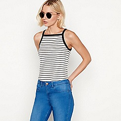Red Herring - White stripe print cotton high neck vest top