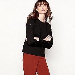 Red Herring - Black button detail cotton blend sweatshirt