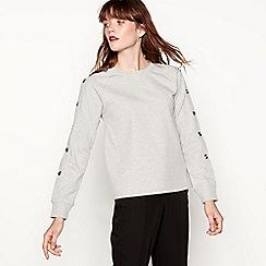 Red Herring - Grey button detail cotton blend sweatshirt