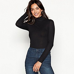 Red Herring - Black ribbed roll neck stretch top