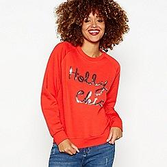 Red Herring - Red slogan print crew neck Christmas jumper