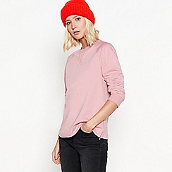 Red Herring - Pink cotton-blend zip side jumper