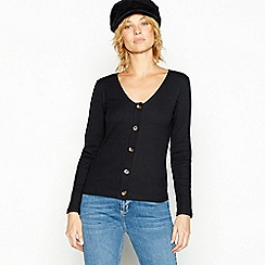 Red Herring - Black ribbed button through top