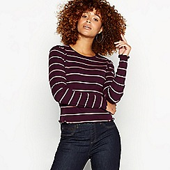 Red Herring - Plum striped cropped lettuce edge cotton top