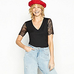 Red Herring - Black lace sleeve T-shirt