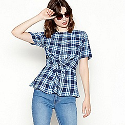Red Herring - Blue check print twist front short sleeve top