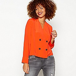 Red Herring - Orange double breasted chiffon long sleeve blouse