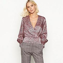 Red Herring - Pink animal jacquard print cropped long sleeve blouse