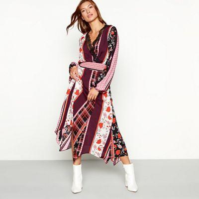 fd3bc8f4bf4088 Red Herring Multicoloured scarf print shirred long sleeve midi dress ...