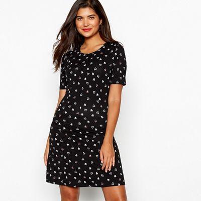 Red Herring - Black heart print pintuck stretch cotton dress 0fbf13765