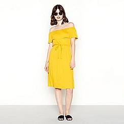 Red Herring - Mustard yellow Bardot neck dress