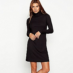 Red Herring - Black ribbed roll neck long sleeve mini dress