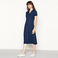 Red Herring - Navy button through polo neck midi dress