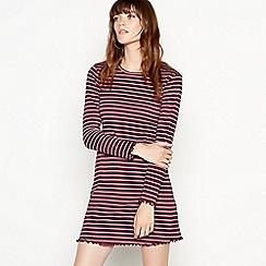 Red Herring - Plum striped cropped lettuce edge long sleeves dress
