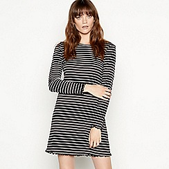 Red Herring - Black stripe cropped lettuce edge long sleeves dress