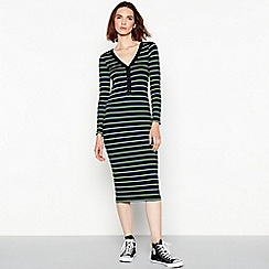 Red Herring - Multicoloured ribbed stripe midi dress