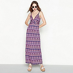 Red Herring - Purple aztec print twist front full length maxi dress