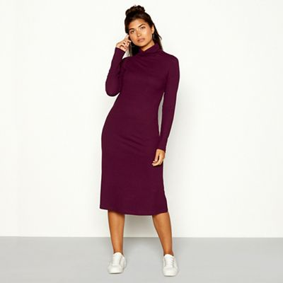 Red Herring   Plum Ribbed High Neck Long Sleeve Midi Dress by Red Herring