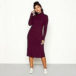Red Herring - Plum ribbed high neck long sleeve midi dress