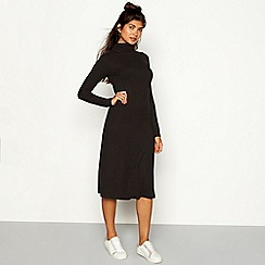 Red Herring - Black ribbed high neck long sleeve midi dress