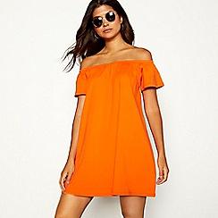 Red Herring - Orange cotton Bardot neck short sleeve mini dress