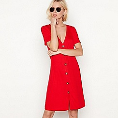 Red Herring - Red ribbed V-neck button through mini dress