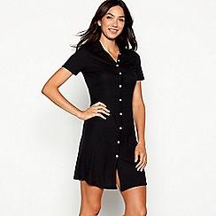 Red Herring - Black button through polo collar mini dress