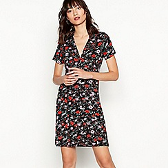 Red Herring - Multicoloured floral print button through mini dress