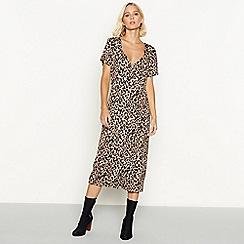 Red Herring - Leopard print button through V-neck midi dress