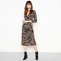 Red Herring - Brown leopard print wrap midi dress