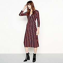 Red Herring - Stripe print wrap midi dress