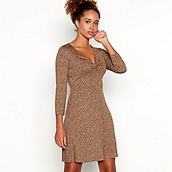 Red Herring - Camel leopard print mini length skater dress
