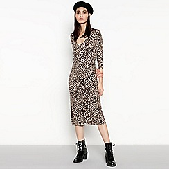 Red Herring - Brown animal print button through midi dress