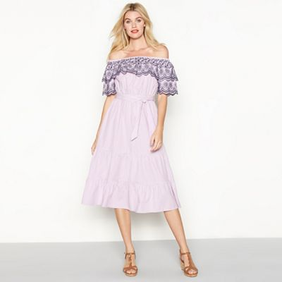 Red Herring   Lilac Striped Embroidered Cotton Bardot Neck Short Sleeve Midi Dress by Red Herring