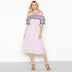 Red Herring - Lilac striped embroidered cotton Bardot neck short sleeve midi dress
