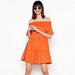 Red Herring - Orange swiss dot pattern stripe cotton Bardot neck short sleeve tirered dress