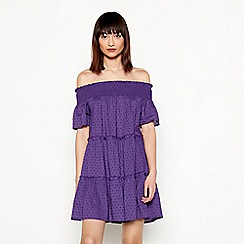 Red Herring - Purple swiss dot pattern stripe cotton Bardot neck short sleeve tirered dress