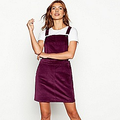 Red Herring - Dark purple flat cord pinafore dress
