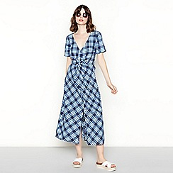 Red Herring - Blue check print cotton v-neck short sleeves midi dress