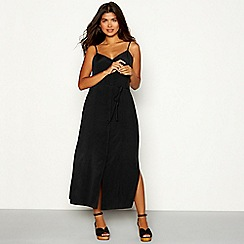 Red Herring - Black button through V-neck midi dress