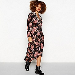 Red Herring - Multicoloured rose print midi wrap dress